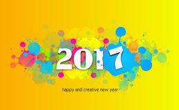 Happy and creative new year 2017. Greeting card to new year 2017 with colorful blots Stock Photography