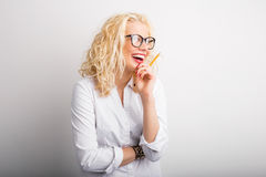 Happy and creative woman having crazy ideas Stock Images