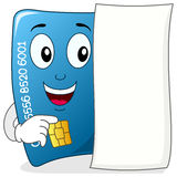 Happy Credit Card with Blank Paper Stock Images