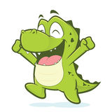 Happy crocodile or alligator jumping. Clipart picture of a crocodile or alligator cartoon character jumping stock illustration