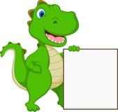 Happy Crocodile Cartoon With Blank Sign Royalty Free Stock Image