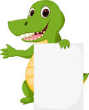 Happy crocodile cartoon with sign. Illustration of Happy crocodile cartoon with sign royalty free illustration