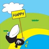 Happy crow on the beach Stock Photo