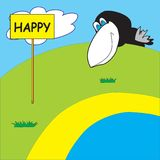 Happy crow over the horizon Royalty Free Stock Image