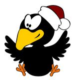 Happy crow wearing christmas cap isolated on white Royalty Free Stock Image