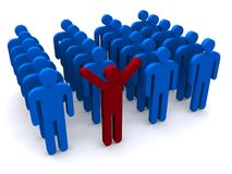 Happy in a crowd. Illustration of one happy individual stands out in a crowd of blue people Stock Image
