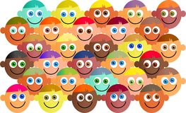 Happy crowd. Happy, smiling, diverse crowd of cartoon faces Royalty Free Stock Photography
