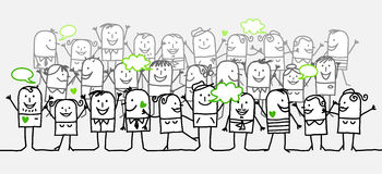 Happy crowd. Vector hand-drawn characters on line Royalty Free Stock Photos
