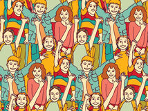 Happy crowd children color seamless pattern. Royalty Free Stock Photography