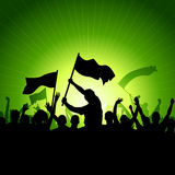 Happy Crowd with Flags. A crowd of people with flags and banners. Vector illustration Stock Images
