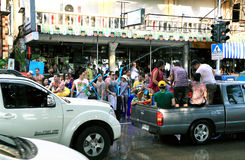 Happy crowd pours water for the Thai holiday of water stock image