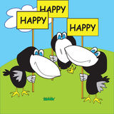Happy crows. Three funny happy cartoon crows on the green lawn greeting signs Stock Illustration