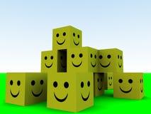 Happy Cubes 9. Some conceptually happy cubes Stock Photos