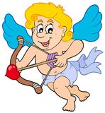 Happy Cupid with bow and arrow Royalty Free Stock Photo