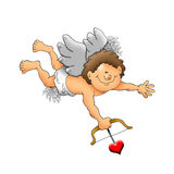 Happy Cupid with bow and arrow Stock Images