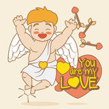 Happy Cupid with a Greeting Love Message, Vector Illustration Stock Photography