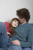 Happy  curl father and daughter Stock Photo