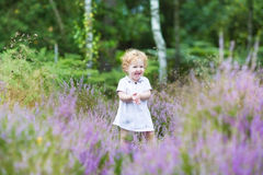 Happy curly baby girl laughing in heathland Royalty Free Stock Images