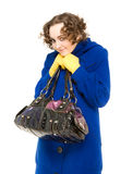 Happy curly-haired woman in coat Stock Photography