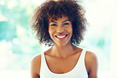 Happy curly woman. Stock Photos