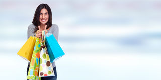 Happy customer. Beautiful young woman with shopping bags. Happy customer girl stock photography