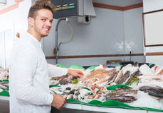 Happy customer buying fish and chilled seafood Stock Photos