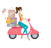 Happy customer. Cute Woman on Scooter Driving from Shopping Sale. Vector illustration of fashion young woman driving pink scooter loaded with shopping bags and Stock Image