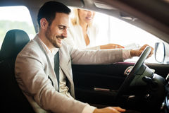 Happy customer just bought a car Royalty Free Stock Photos