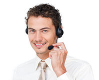 Happy customer service agent with headset on Stock Photos