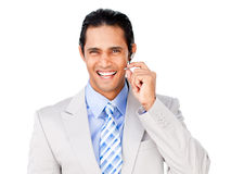 Happy customer service agent with headset on. Against a white background Stock Photo