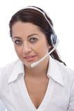 Happy customer service representative. Beautiful and happy customer service representative Royalty Free Stock Image