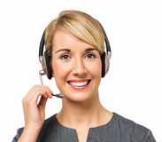 Happy Customer Service Representative Wearing Headset Royalty Free Stock Photo
