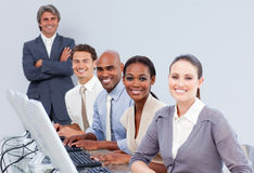 Happy customer service representatives Stock Images