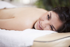 Happy customer at a spa Stock Images