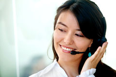 Happy customer support operator Stock Photography