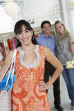 Happy Customers In Clothing Store Royalty Free Stock Photos