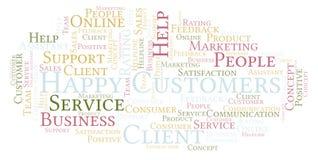 Happy Customers word cloud. vector illustration