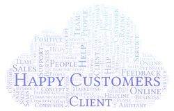 Happy Customers word cloud. stock illustration
