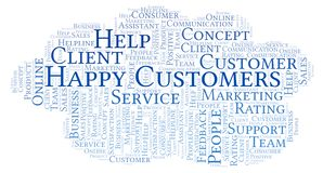 Happy Customers word cloud. Made with text only vector illustration