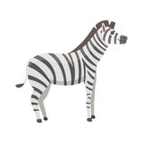 Happy cut cartoon zebra isolated illustration. African mammal animal. Royalty Free Stock Image