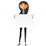 Happy cute asian girl with board. Confident young businesswoman holding board cutout. Cute girl holding a large horizontal banner. Stock Photography