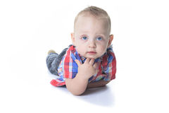 Happy Cute Baby Boy over white background Royalty Free Stock Photography