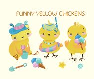 Happy cute baby chickens. Funny cartoon characters Royalty Free Stock Photos