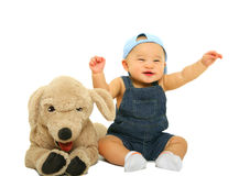 Happy Cute Baby With Stuffed Animal Royalty Free Stock Photos