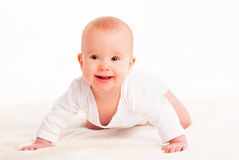 Happy cute baby  on white background Royalty Free Stock Photo