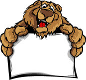 Happy Cute Bear Mascot Holding Sign Royalty Free Stock Photos