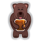 Happy cute bear with pot of honey Royalty Free Stock Images