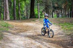 Happy cute blond kid boy having fun his first bike on sunny summ Royalty Free Stock Photos