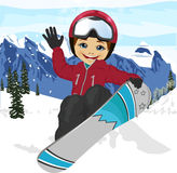 Happy cute boy jumping with snowboard at ski resort Royalty Free Stock Photography