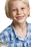 Happy cute boy with milk moustache. Stock Images